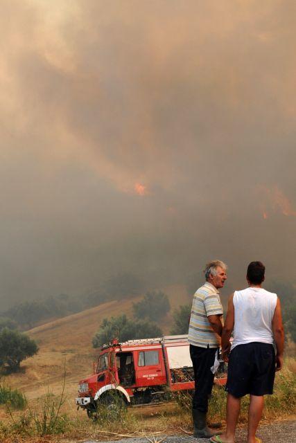Οι φλόγες έφτασαν στις αυλές των σπιτιών | tanea.gr
