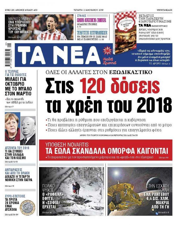 Διαβάστε στα «ΝΕΑ» της Τετάρτης: «Σε 120 δόσεις τα χρέη του 2019»   tanea.gr