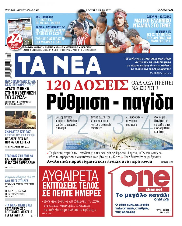 Διαβάστε στα «ΝΕΑ» της Δευτέρας: «Ρύθμιση - παγίδα» | tanea.gr
