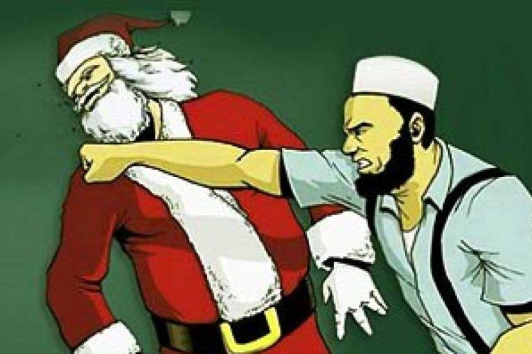 Προκλητικό πανό κατά των Χριστουγέννων : Μουσουλμάνος γρονθοκοπεί τον Άγιο Βασίλη | tanea.gr