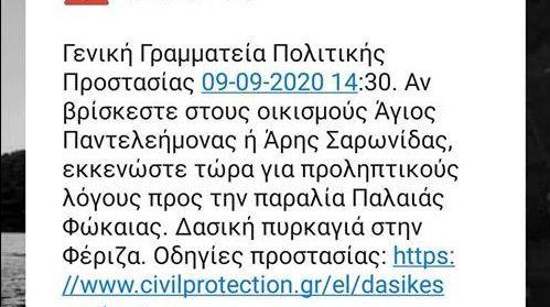 Φωτιά στη Φέριζα Καλυβίων: Το μήνυμα του 112 στους κατοίκους για εκκένωση οικισμών | tanea.gr