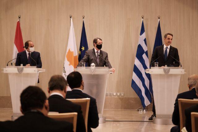 Τριμερής : Κοινή διακήρυξη και καταδίκη των τουρκικών προκλήσεων στην Αν. Μεσόγειο | tanea.gr
