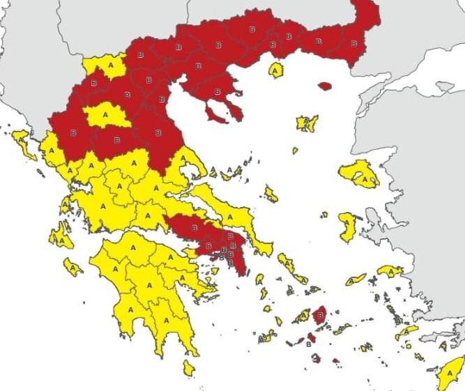 Στο «κόκκινο» και η Μαγνησία – Σε τρεις ζώνες χωρίζεται η Ελλάδα   tanea.gr