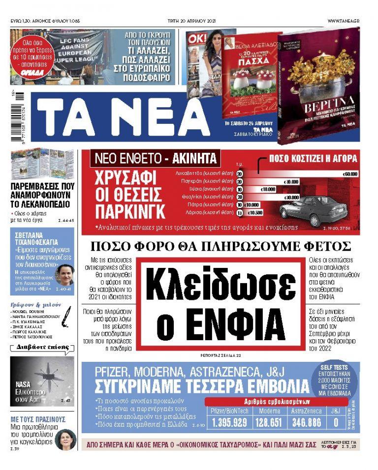 ΝΕΑ 20.04.2021 | tanea.gr