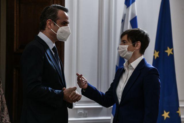 Μητσοτάκης σε Άννα Μπρνάμπιτς: Η Ελλάδα είναι έτοιμη να υποδεχτεί Σέρβους τουρίστες   tanea.gr