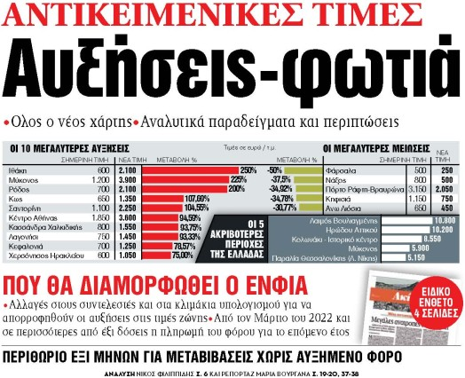 Στα «ΝΕΑ» της Τρίτης: Αυξήσεις-φωτιά   tanea.gr