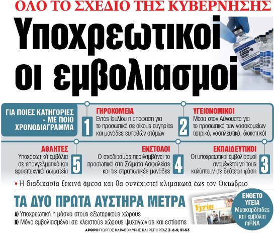 Στα «ΝΕΑ» της Πέμπτης: Υποχρεωτικοί οι εμβολιασμοί | tanea.gr