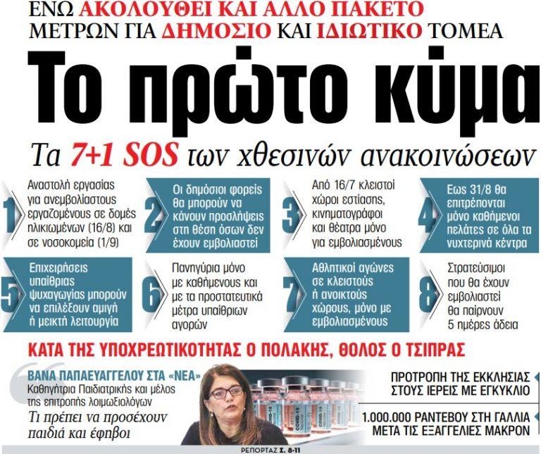 Στα «ΝΕΑ» της Τετάρτης: Το πρώτο κύμα   tanea.gr